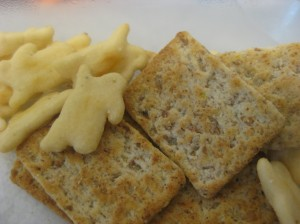 kashi crackers and amy's bunnies for dipping and scooping!